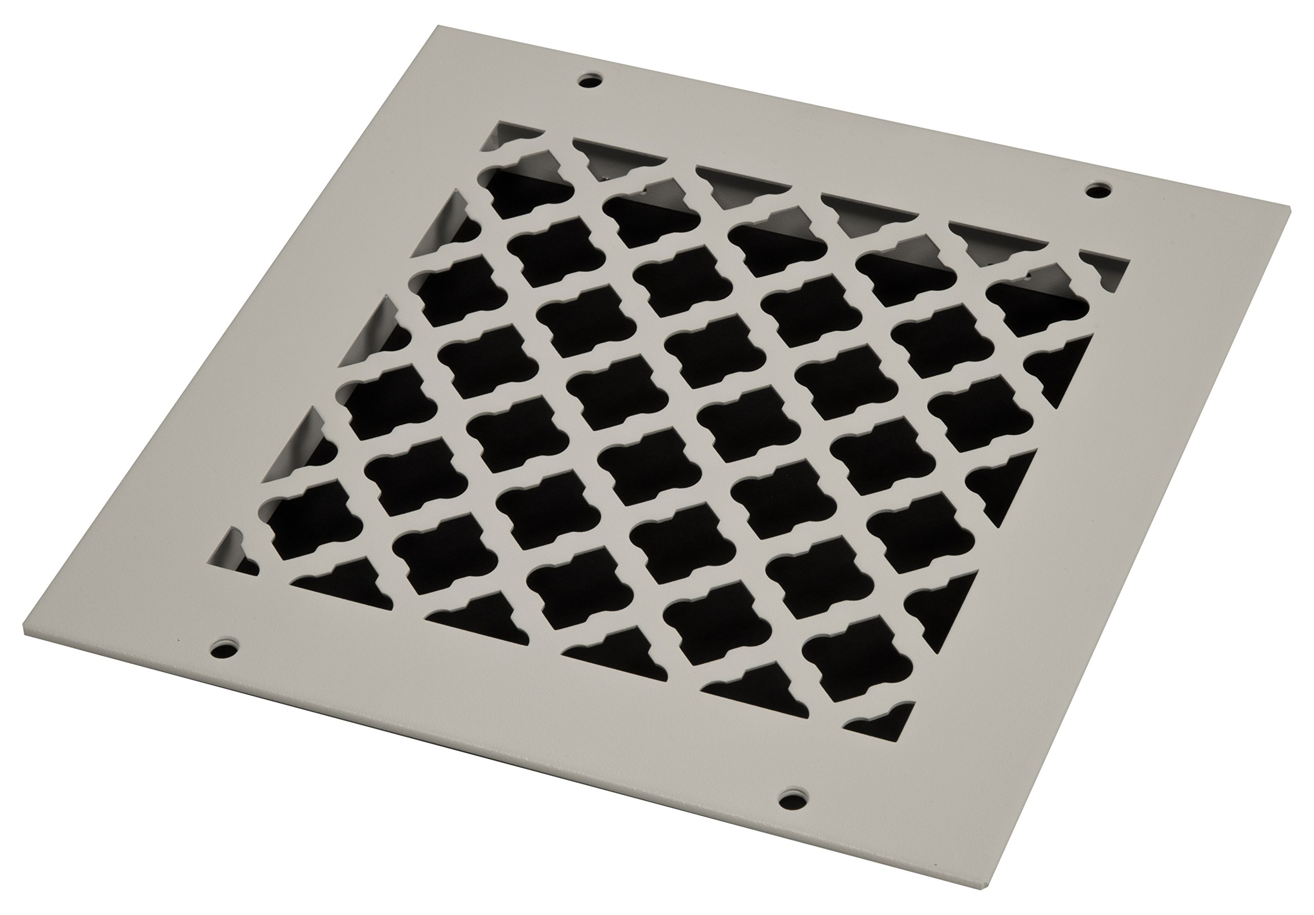 SteelCrest BTU8X8RWHH Bronze Series Designer Wall/Ceiling Vent Cover, with Mounting Screws, White