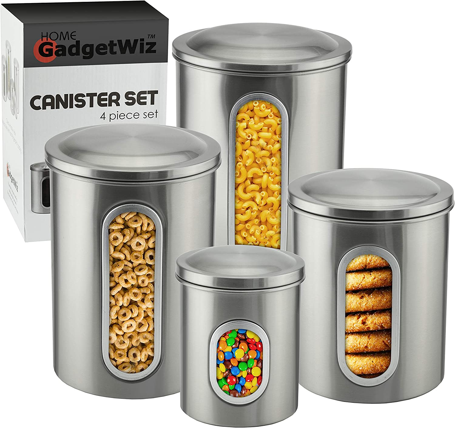 Canister Sets for the Kitchen - Brushed Stainless Steel - Anti fingerprint Coating - Sugar and Flour Canisters Set of 4 - Food Storage Containers
