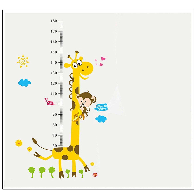 Decalcomanie della parete del righello di misura del grafico di altezza del grafico di Wenosda per i bambini Camera da letto Decorazione del salone della camera da letto, giraffa, 50 X 70CM (19,6x27,5 pollici)