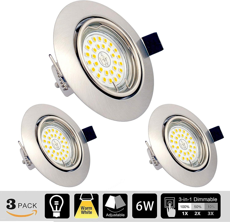 LED Einbaustrahler dimmbar ohne Dimmer GU10 6W Warmweiß 3000K schwenkbar Einbauleuchten 550LM mit 82RA als CRI Runder Zinklegierungr 230v LED Spot IP20 Einbaulampen (3er Set): Amazon.de: Beleuchtung - LED Spots