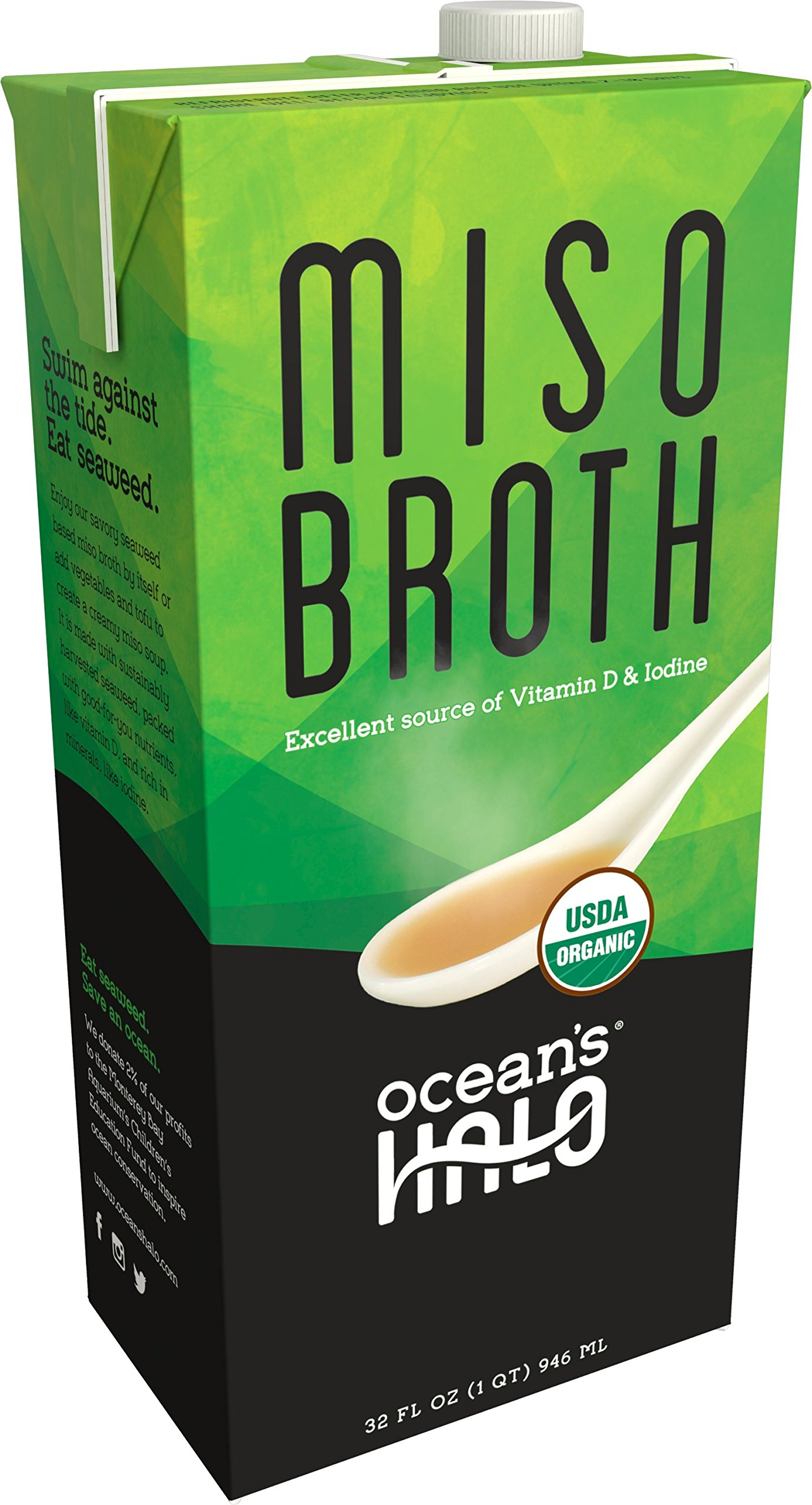 32 oz Organic Miso Broth by Ocean's Halo. This delicious kelp-based broth is loaded with authentic flavors while delivering vitamins, minerals and protein! USDA Organic, GF Ingredients & Vegan