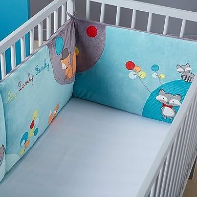 tour de lit bébé garçon kiabi KIABI Tour de lit en velours brodé 'Forêt' vert/bleu TU: Amazon.fr  tour de lit bébé garçon kiabi