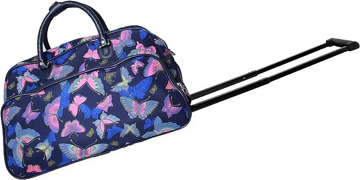 World Traveler 21 Inch Carry On Rolling Duffel Bag Blue Butterfly Travel Duffels