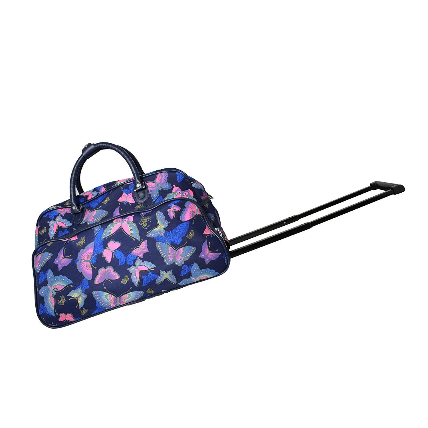 World Traveler Blue Moon Butterfly 21-Inch Carry-On Rolling Duffel Bag