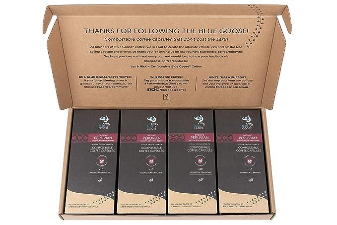 Compostable Plastic Free Nespresso Compatible Eco Coffee Pods Single Origin Organic Peruvian Coffee 40 Biodegradable Coffee Capsules Filled