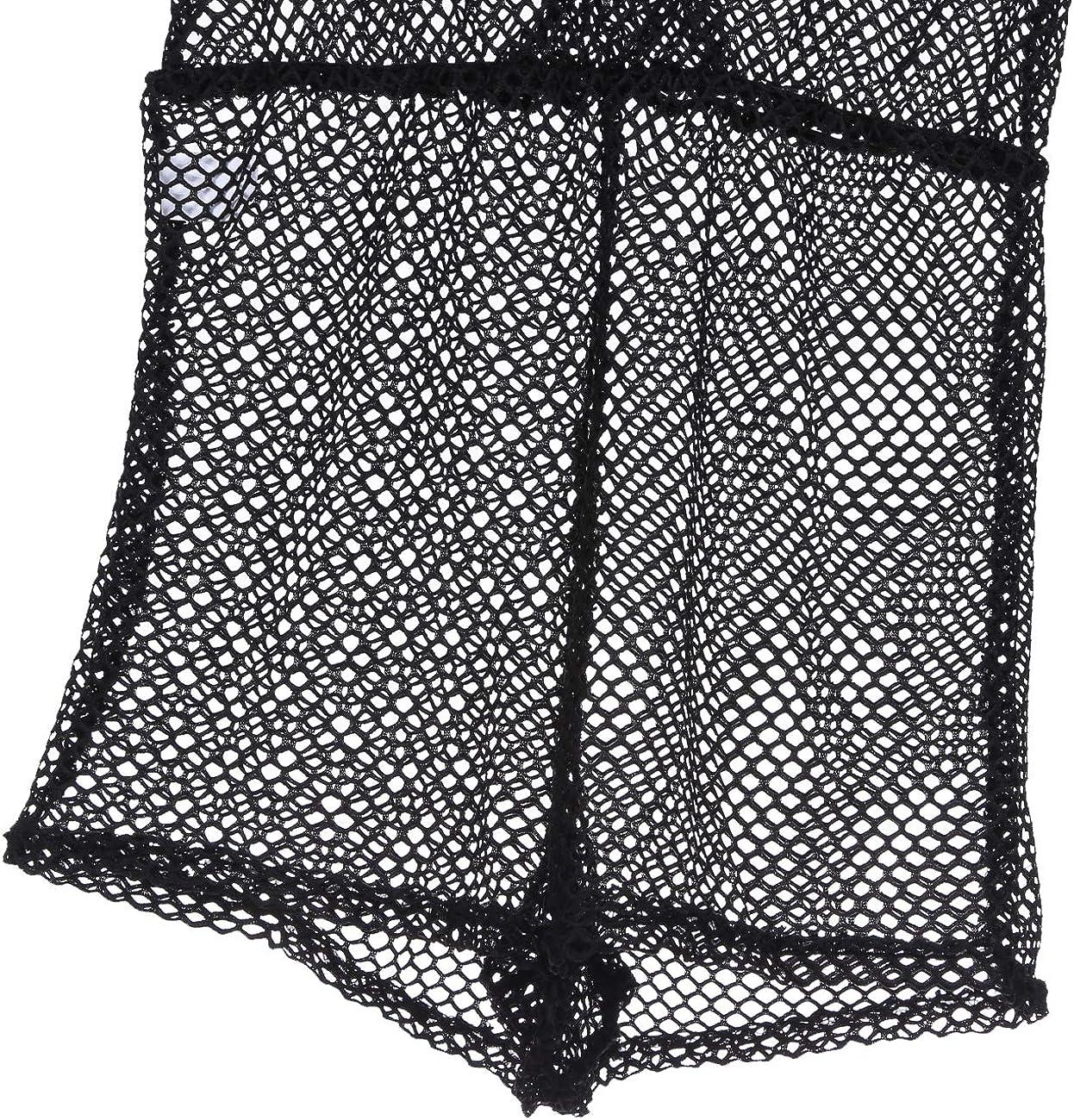 Loalirando Combi-Short Cache Maillot de Bain Femme Transparent Ajour/é en R/ésille Mesh Fishnet Noir