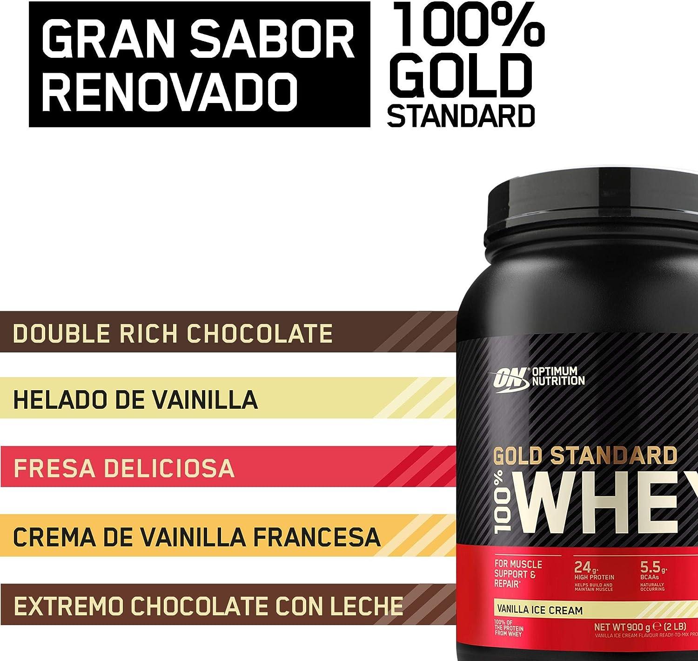 Optimum Nutrition Gold Standard 100% Whey Proteína en Polvo, Glutamina y Aminoácidos Naturales, BCAA, Helado de Vainilla, 15 Porciones, 450g, Embalaje ...