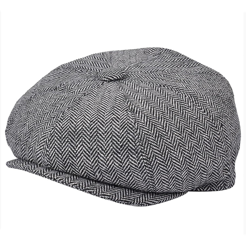 676f9d913 G & H Black & White Herringbone Newsboy Cap: Amazon.co.uk: Clothing