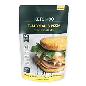Keto Flatbread & Pizza Bread Mix by Keto and Co | Just 1.4g Net Carbs | Gluten Free, Diabetic & Keto Friendly, Non-GMO | Great for Burgers, Sandwiches, Pizza | Makes 12 Servings
