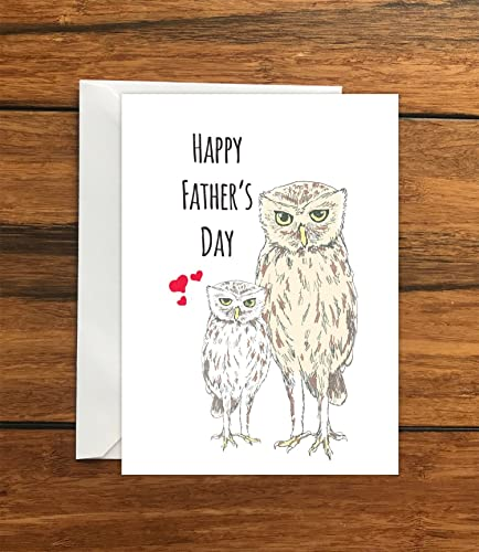 happy fathers day owls blank greeting card a6 amazon co uk handmade