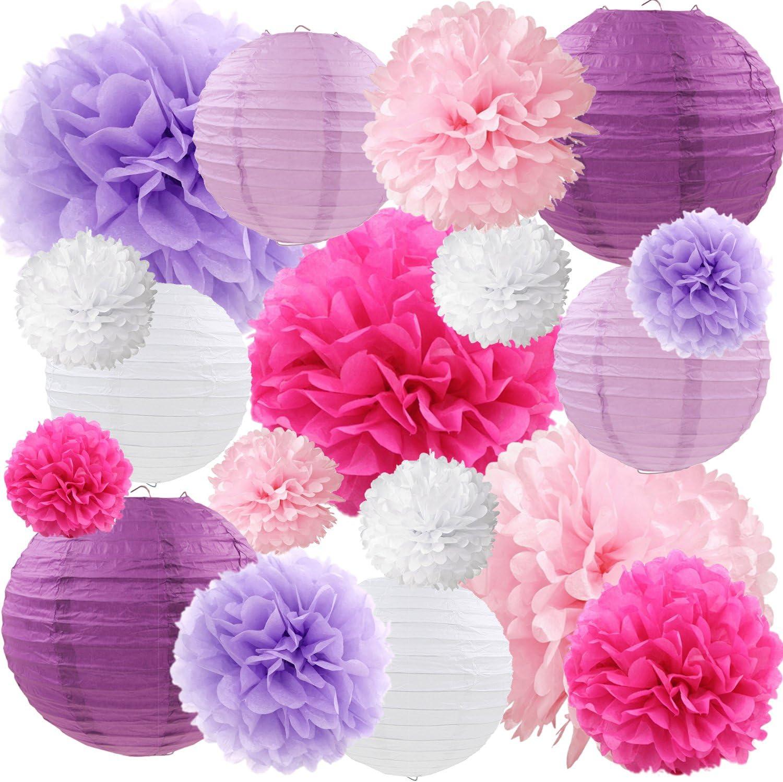 Purple Pink Tissue Paper Lanterns Decorative Flowers Pom Poms Party Decorations, 18 pcs