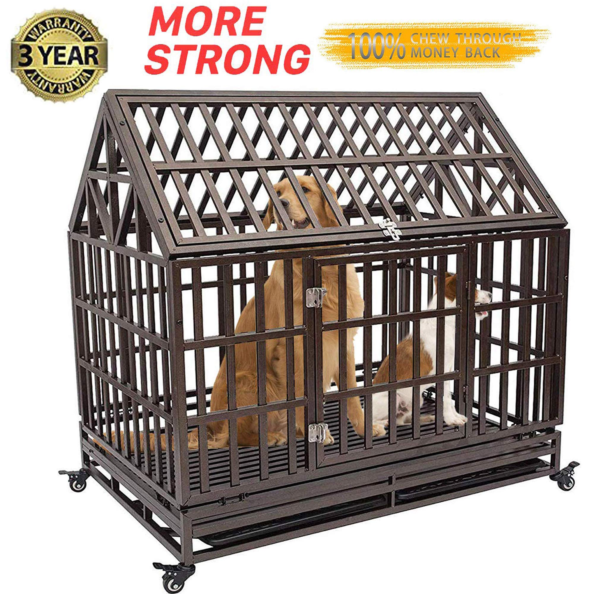 Gelinzon Roof Dog Cage Crate Kennel Heavy Duty Large Homestead Serise for Large Dogs with Patent Lock, Tray and Four Lockable Wheels, 46''/Black