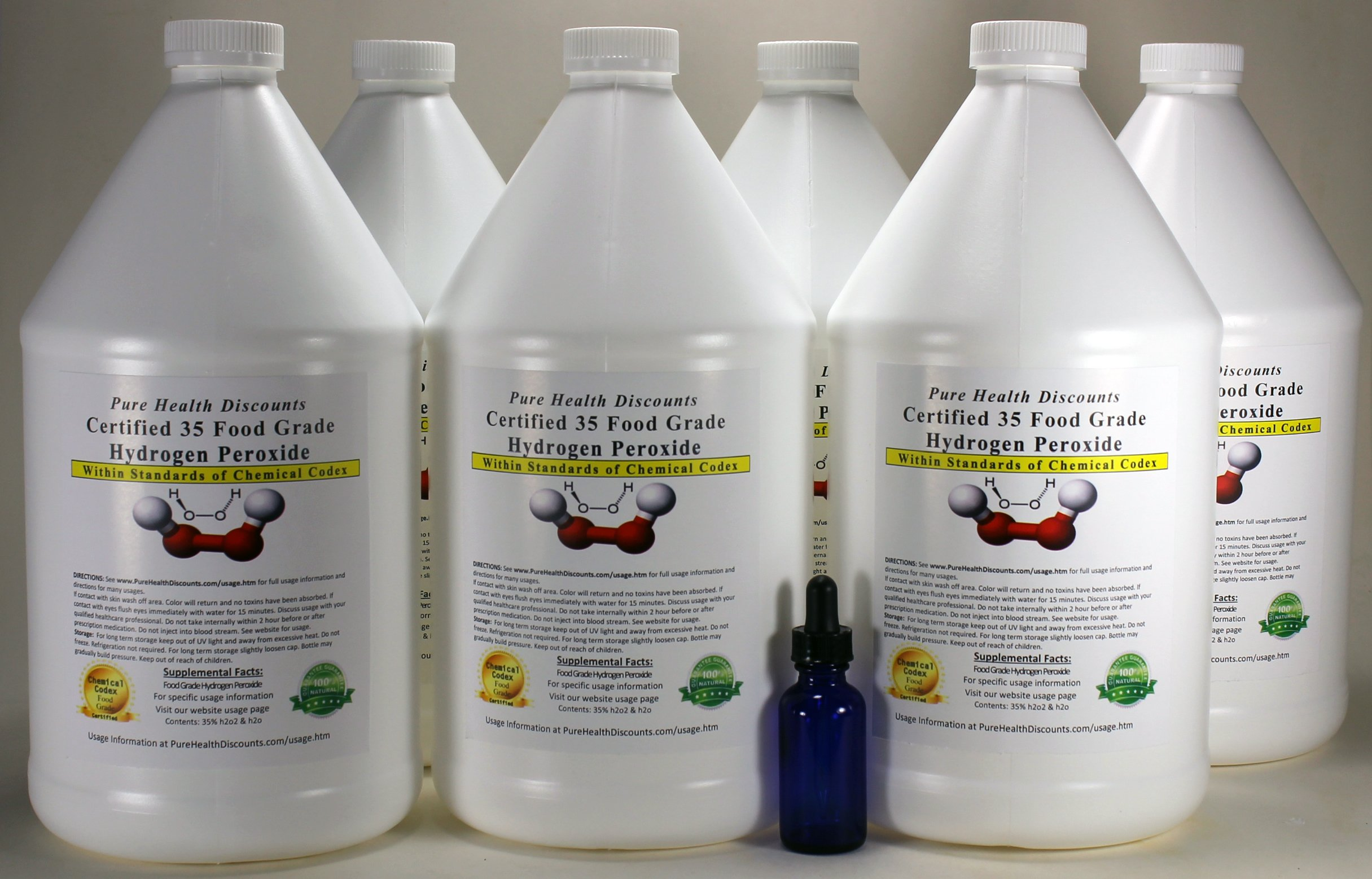 6 Gallons of 35% Food Grade Hydrogen Peroxide PLUS Cobalt Dropper Bottle. Same as found in The One Minute Cure. Shipped super fast. This is a GREAT price for the REAL thing