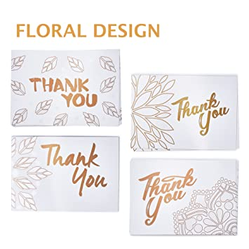 Amazon.com   Thank You Cards Assorted Set - 40 Blank Thank U Note Cards    Kraft Envelopes - Gold Floral Designs - Bulk Thank You Notes for Baby  Shower 77b3e06ef52b0