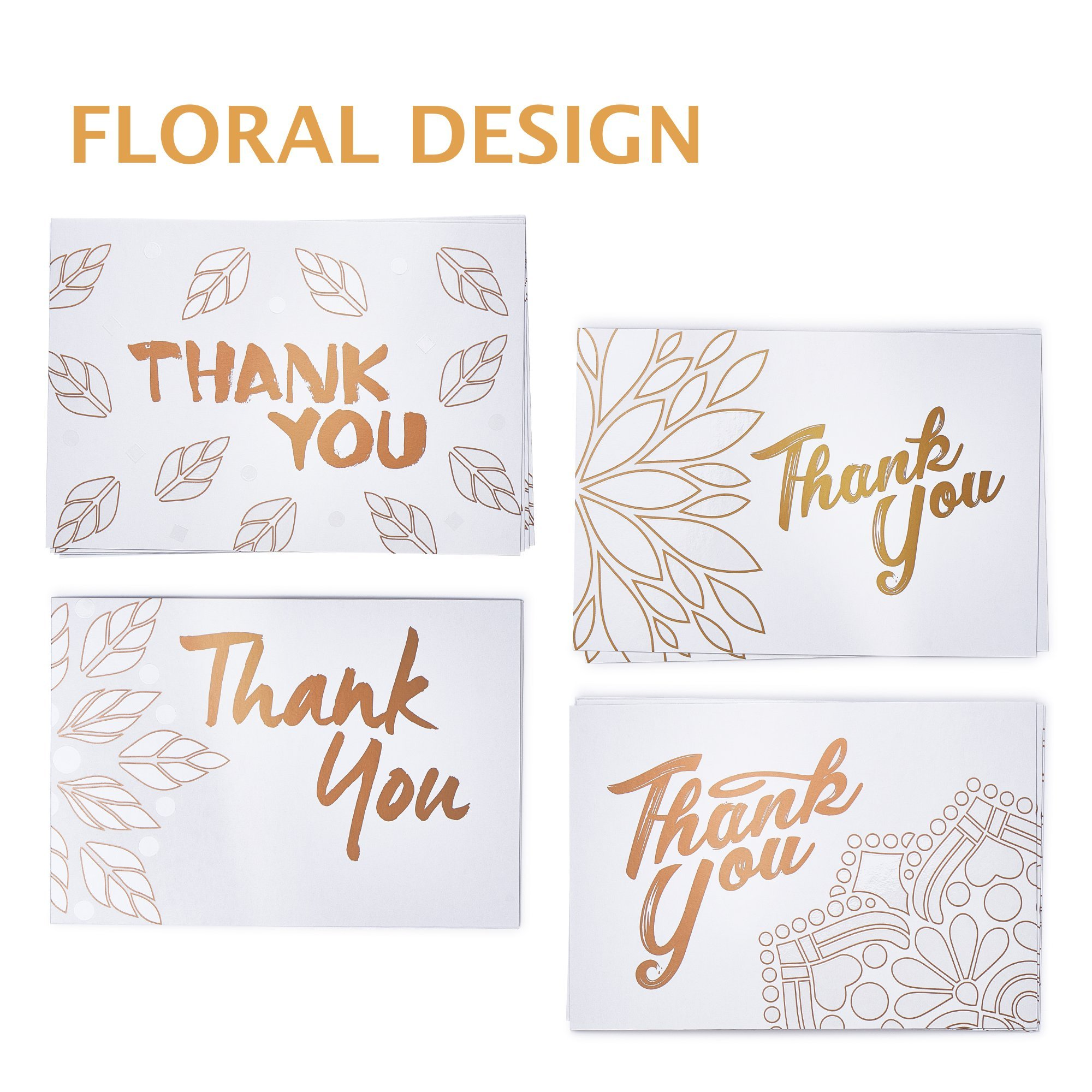 Thank You Cards Box Set - 40 Greeting Cards with Kraft Envelopes - Rose Gold/White Floral Design Note Cards - Best Thank You Notes for boy/girl Baby Shower, Men, Bridal, Wedding, Kids, Graduation
