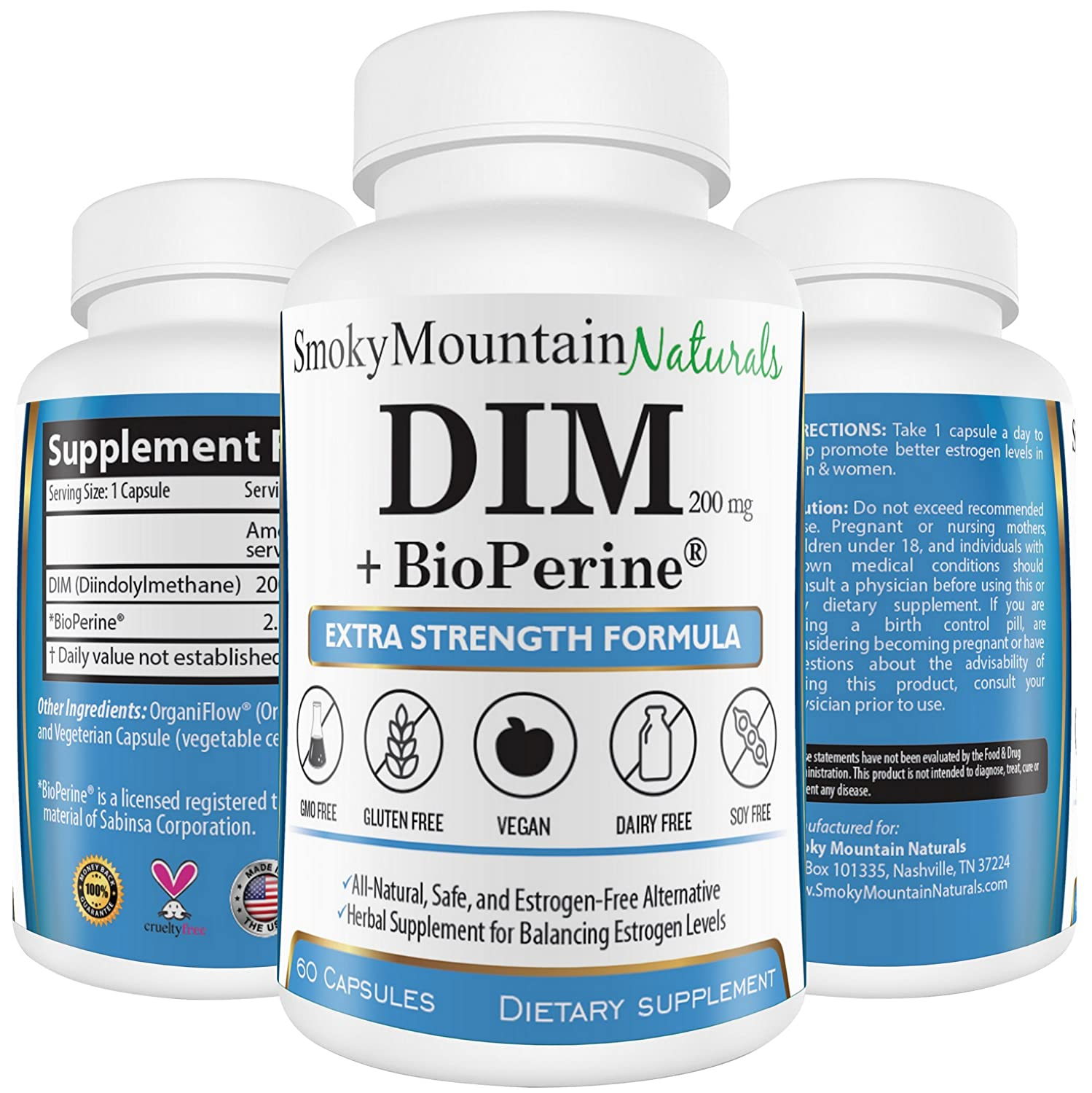 Dim Supplement 200mg Plus Bio Perine (2 Month Supply) Menopause Relief, Estrogen Balance, Pcos & Cystic Hormonal Acne Treatment, & Body Building.... by Smoky Mountain Naturals