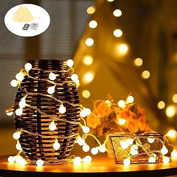 LEDGLE Cadena de Luces LED, 7M 50 LED Blanca Cálido, 8 Modos de Iluminación
