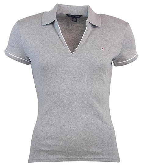7777a1a2 Tommy Hilfiger Womens Buttonless Logo Polo Shirt - M - Gray: Amazon ...
