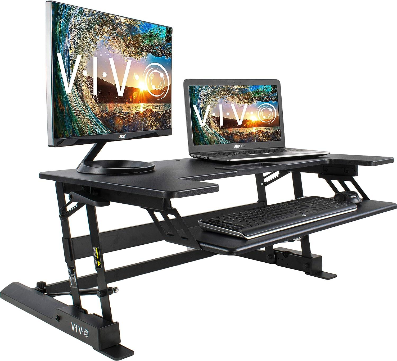 VIVO Height Adjustable Standing Desk Sit to Stand Gas Spring Riser Converter 36 Tabletop Workstation fits Dual Monitor DESK-V000B