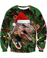 Uideazone Unsiex 3D Digital Printed Ugly Christmas Pullover Sweatshirts Graphic Long Sleeve Shirts