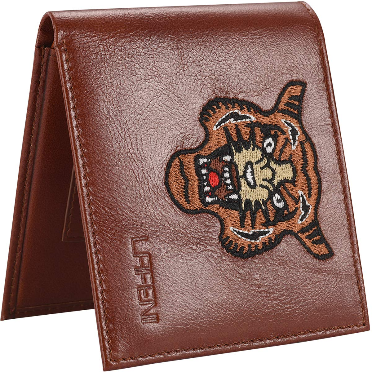 LAFENI Bifold Wallet, Mens Genuine Leather RFID Blocking Wallet with ID Window BifoldWallet-Black-FBA