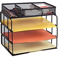 Callas Mesh 3-Tier Office Desktop File Organizer Stackable Desk Organizer Letter Paper Tray with Compartment, Black, CA17335A