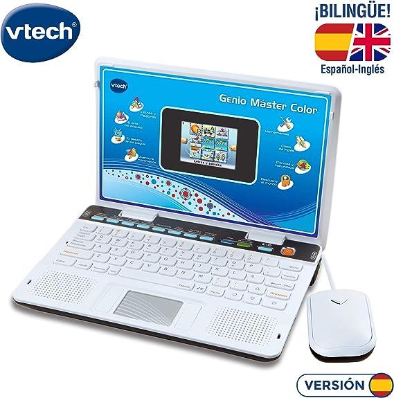VTech Genio Máster Bilingüe, Ordenador portátil para niños, pantalla, enseña vocabulario, matemáticas, ciencias a través de 180 actividades en español ...