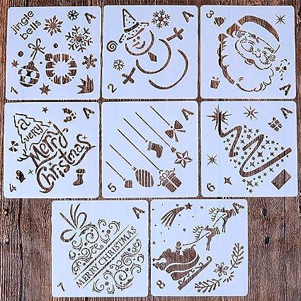 Christmas Stencils For Wood.Amazon Com Locolo 8 Pcs Christmas Painting Stencils