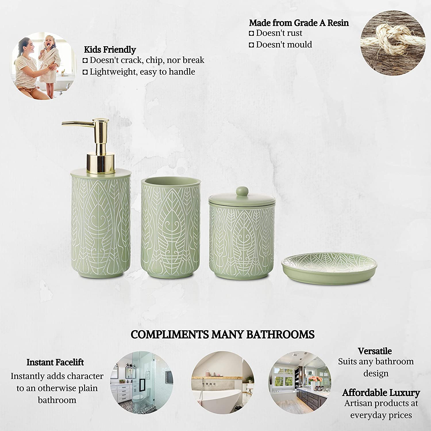 VIRTUNE Premium Pastel Green Bathroom Accessory Set. Home and Apartment Essentials Including Hand Pump Soap Dispenser, Soap Dish, Toothbrush Holder, and Tumbler Cup. Modern Bathroom Decor: Home & Kitchen