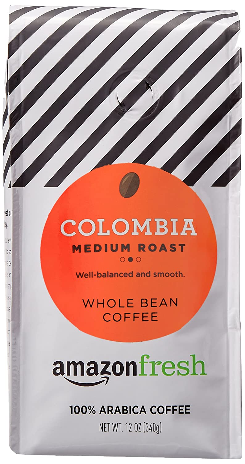 AmazonFresh Colombia Whole Bean Coffee, Medium Roast, 12 Ounce