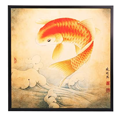 Amazon.com: INK WASH Lucky Feng Shui Koi Fish Carp Painting Wall Art ...