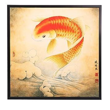 Amazon.com: INK WASH Lucky Feng Shui Koi Fish Carp Painting Wall Art ...