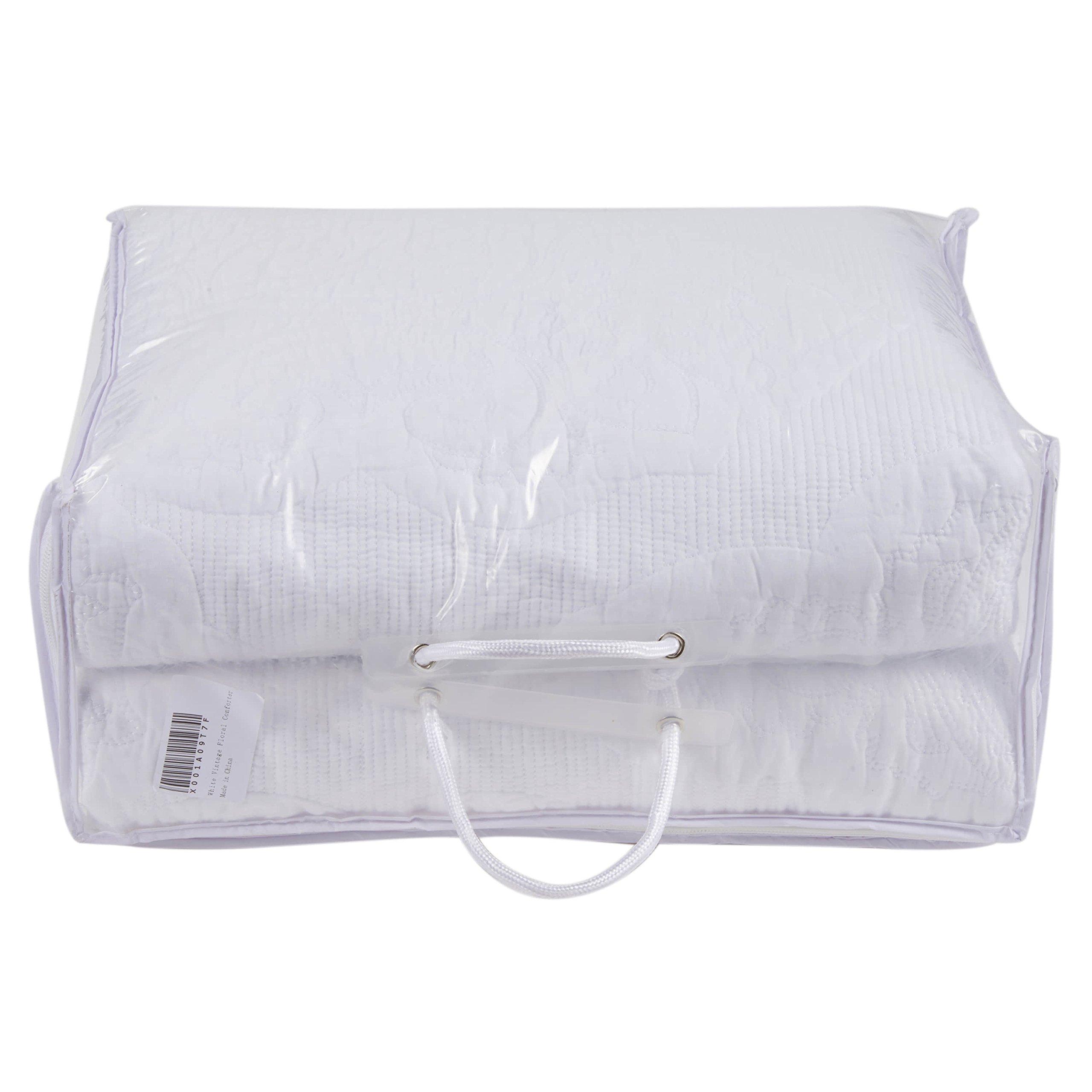 Moldiy White Pulis Embroideried Exquisite Floral Pattern Cotton Quilt Sets,Quilt and Pillow Shams,3 Pcs,King