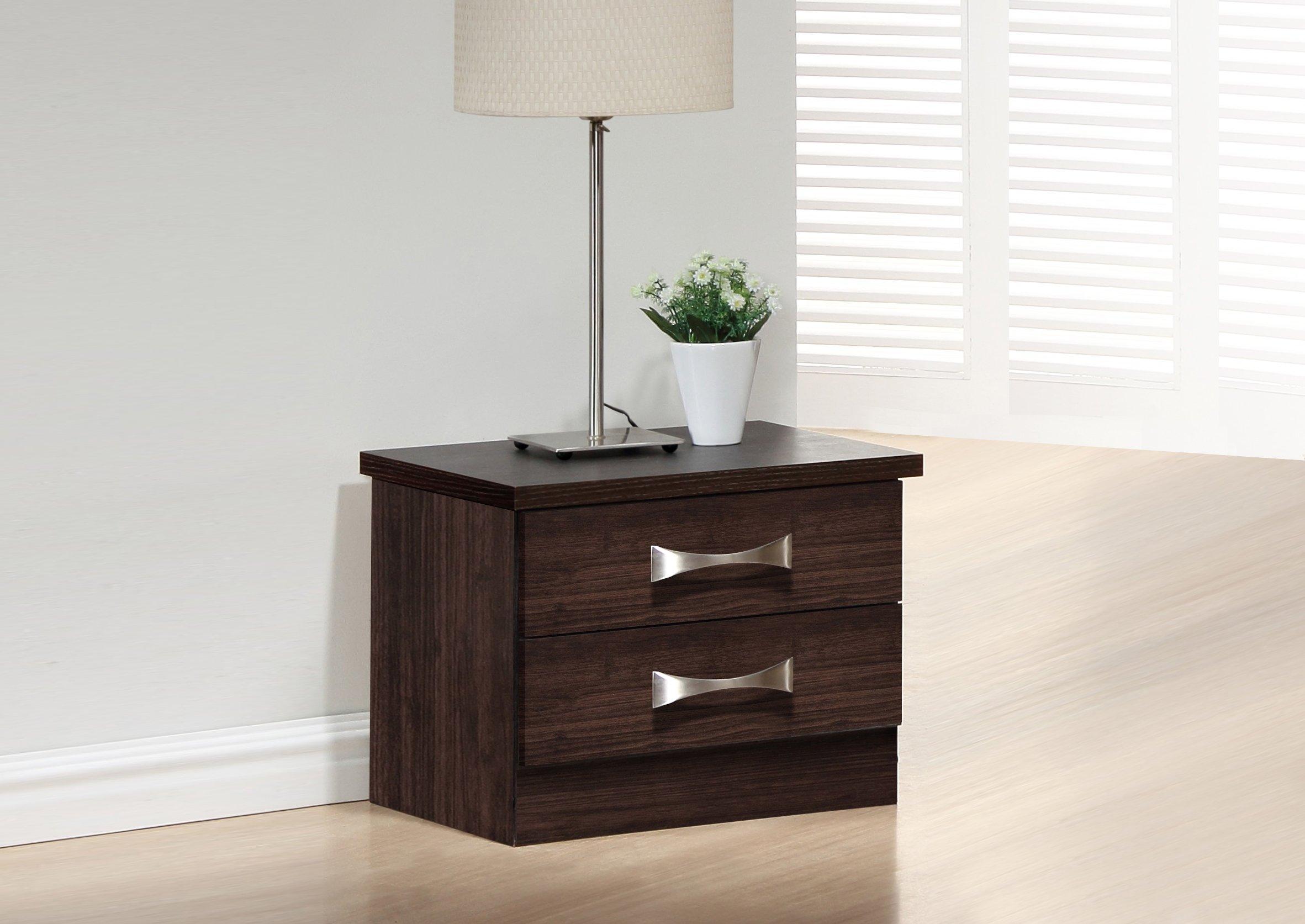 Baxton Studio Wholesale Interiors Colburn 2 Drawer Finish Wood Storage Nightstand Bedside Table, Medium, Dark Brown