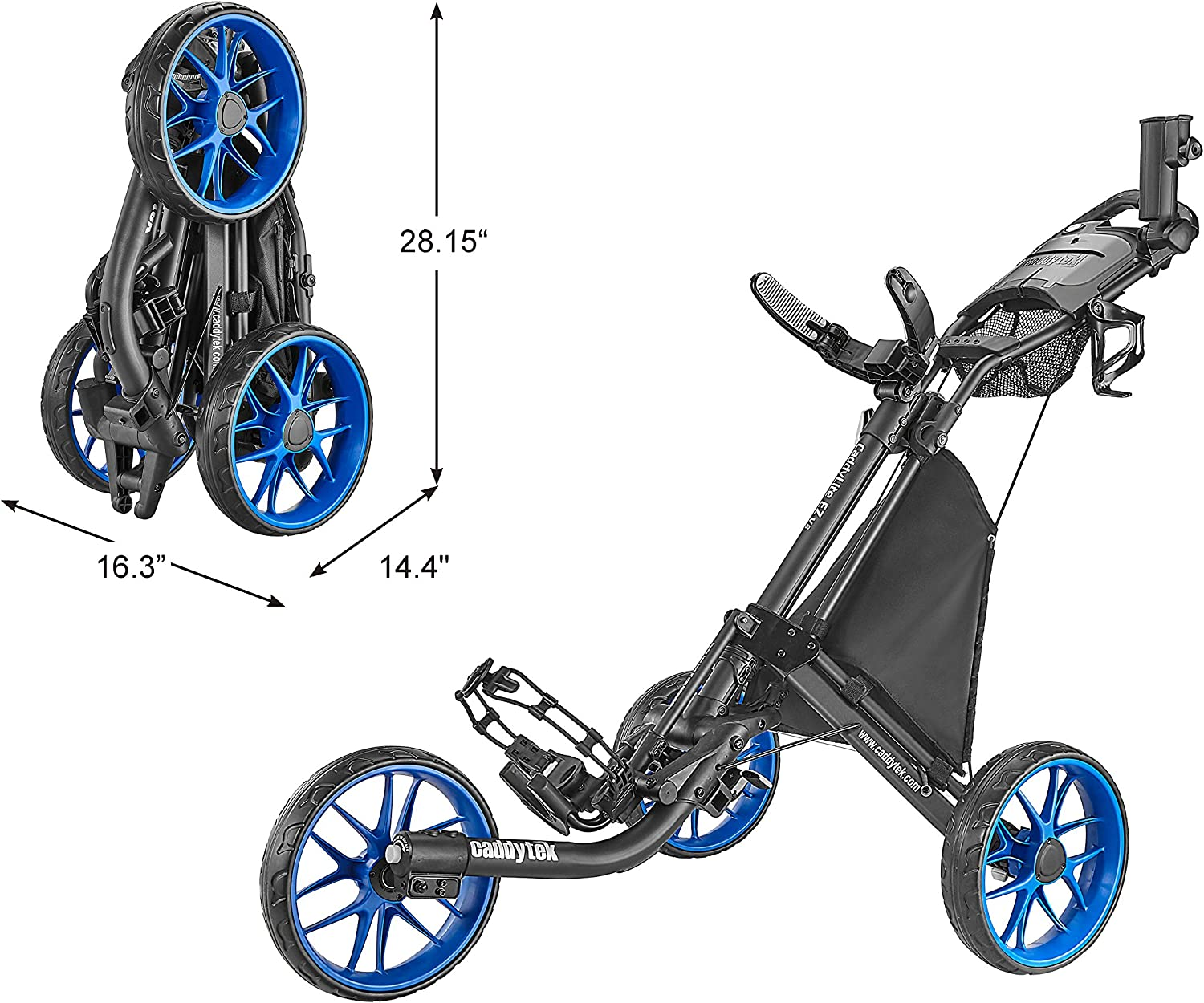 CaddyTek 3 Wheel Golf Push Cart