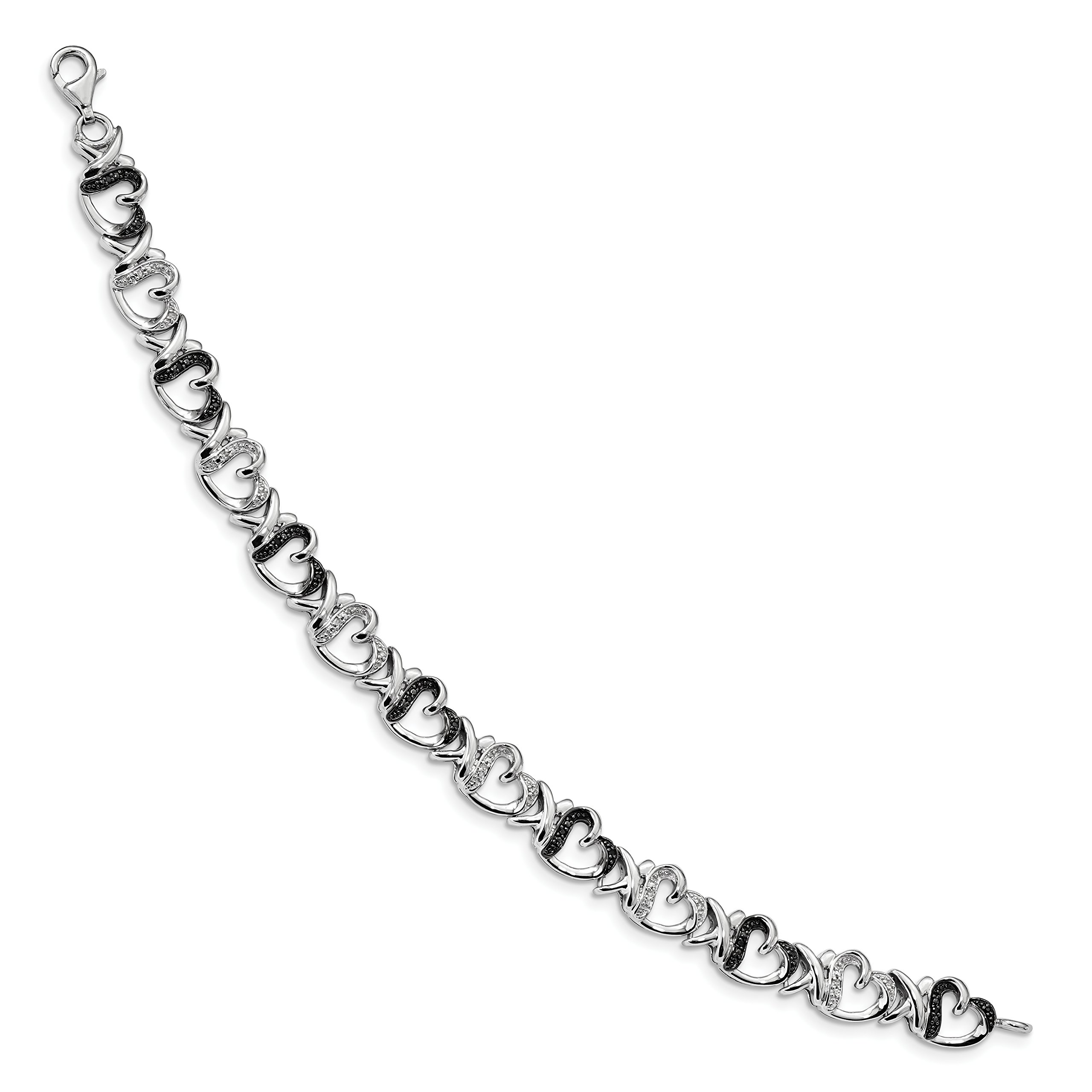 ICE CARATS 925 Sterling Silver Black White Diamond Bracelet 7.5 Inch /love Fine Jewelry Gift Set For Women Heart by ICE CARATS (Image #2)
