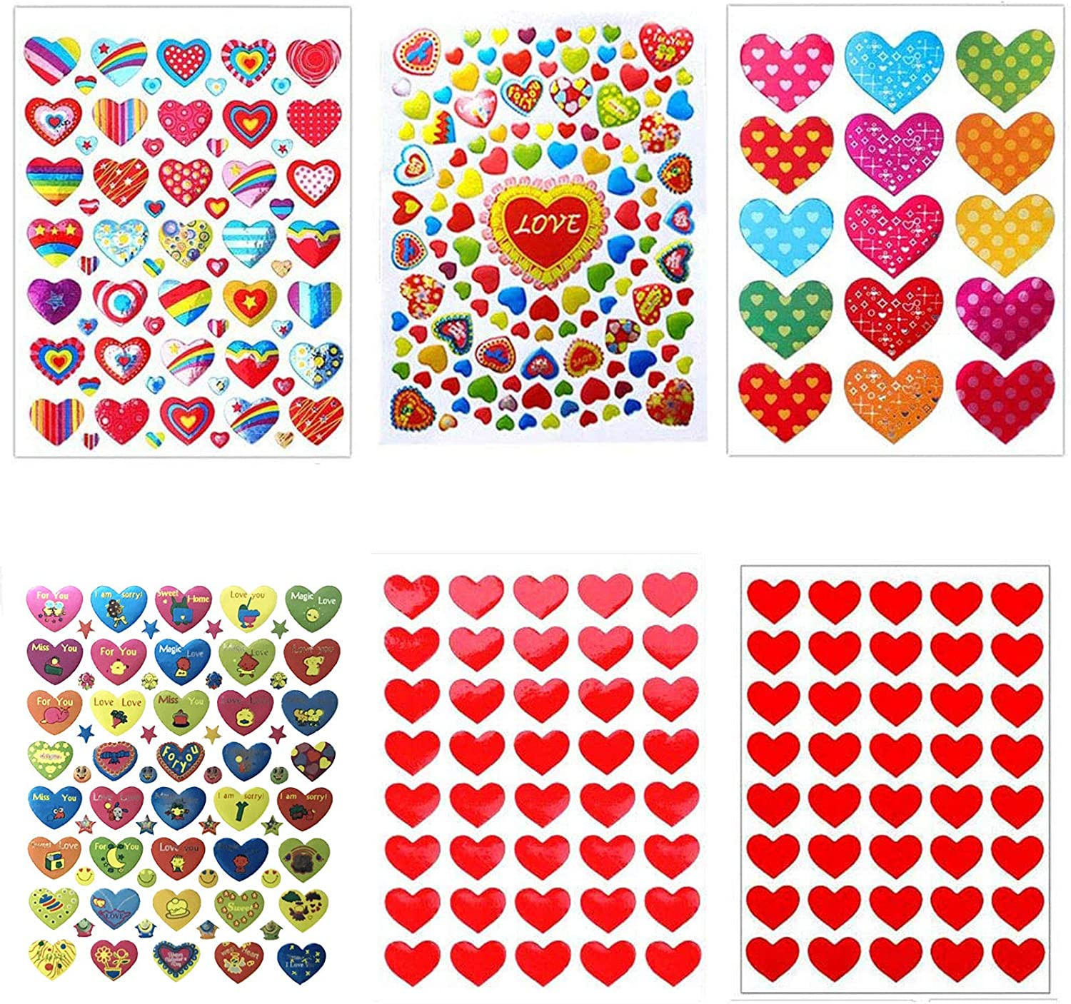 60 Sheet Valentines Heart Stickers Love Decorative Glitter Sticker for Kids Envelopes Cards Craft Scrapbooking for Great Party Favors Gift Prize Class Rewards Award Praise Style B