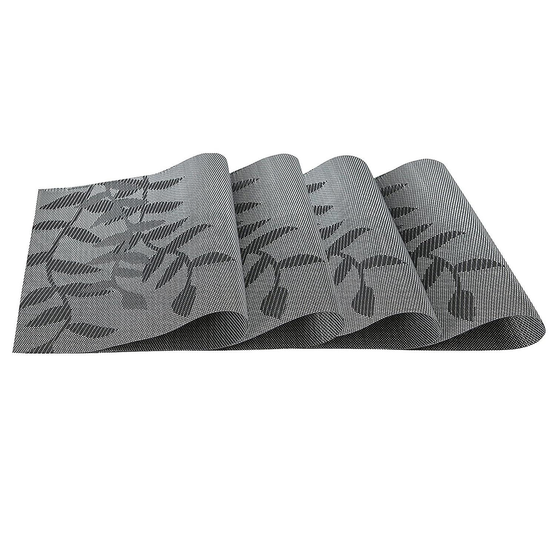 耐熱プレースマット水生植物Stain PVCテーブルマットDiagonal記事ダイニングテーブルウェアパッドのマットセット4、ブラック   B077X9CC86
