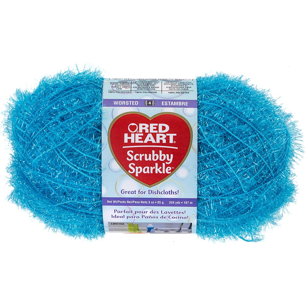 Amazon.com: RED HEART Scrubby Sparkle Yarn, Icepop: Arts, Crafts ...