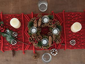 """FLBER OUTLET Macrame Table Runners Red Christmas Decor Kitchen Dining Table Runner,13.8""""x 118"""""""
