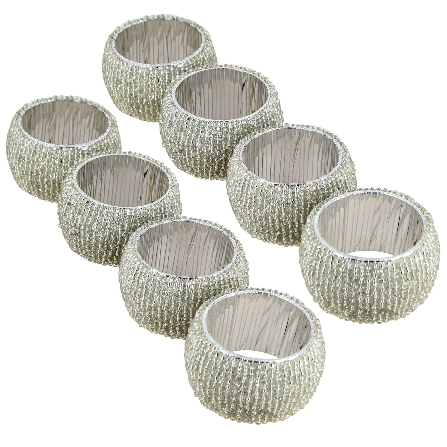 Lot of 8 Pieces Napkin Rings Silver Indian Handmade Glass Beaded For Special Occasions Dinners Parties Everyday - Set of 8 Rings