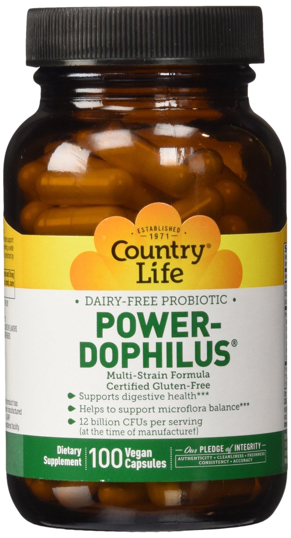 Country Life - Power-Dophilus Dairy-Free Probiotic, 12 Billion CFU's - 100 Vegan Capsules