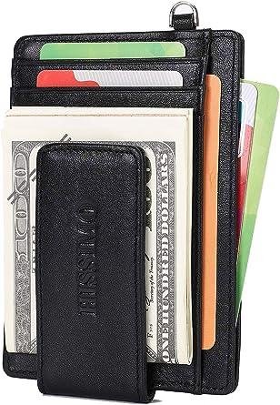 Mens Genuine Leather  Slim Wallet Money Clip Pocket ID Card Slot RFID Blocking