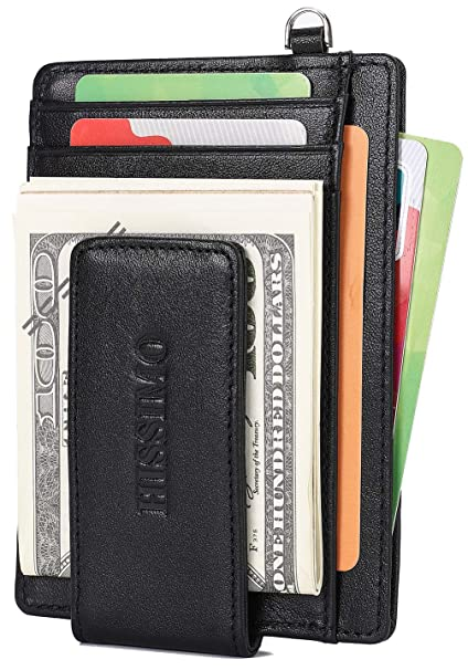 3da6666fb51e Mens Magnet Money Clip Front Pocket Wallet Genuine Leather Wallet with  D-ring and RFID Blocking