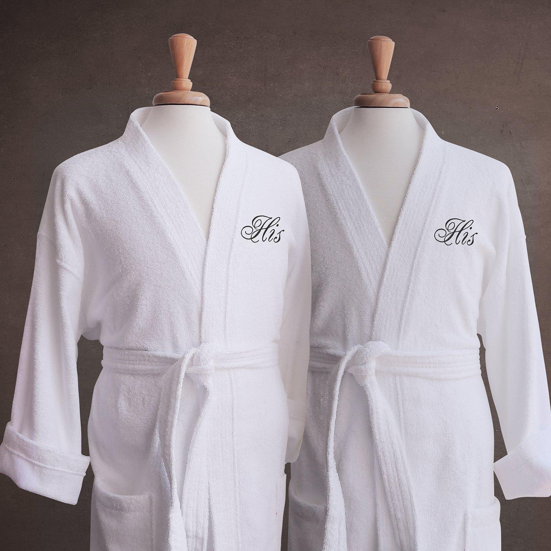 Luxor Linens - Terry Cloth Bathrobes - 100% Egyptian Cotton Same Sex- His & His Bathrobe Set - Luxurious, Soft, Plush Durable Set of Robes - Available with Customized Monogram