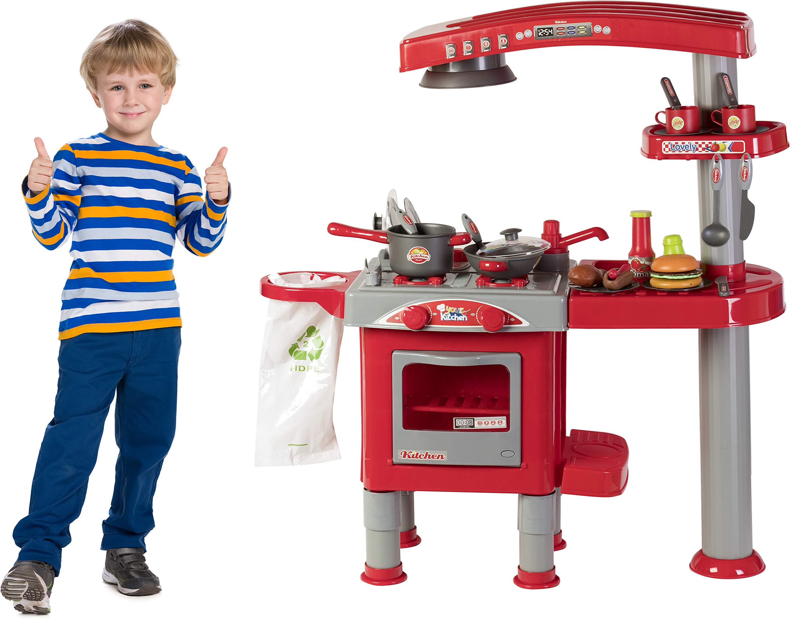 Kitchen Grill Boys Playset Oven Stove,Pots & Pans, Cups, Utensils & Tools. Make Sandwiches, Hot Dogs & More Like a Pro