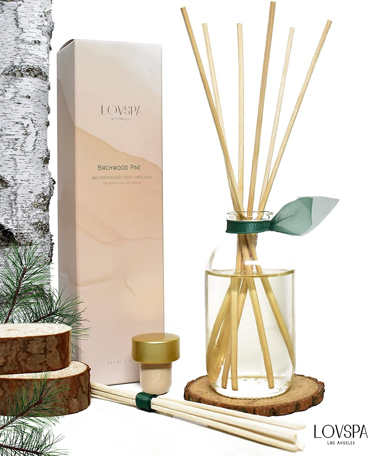 LOVSPA Birchwood Pine Reed Diffuser Set Wood Slice Coaster | White Pine, Fir Balsam, Birchwood & Amber Fragrance Notes | Woodsy Rustic Decor w/Scented Sticks | Great Gift Idea Men!