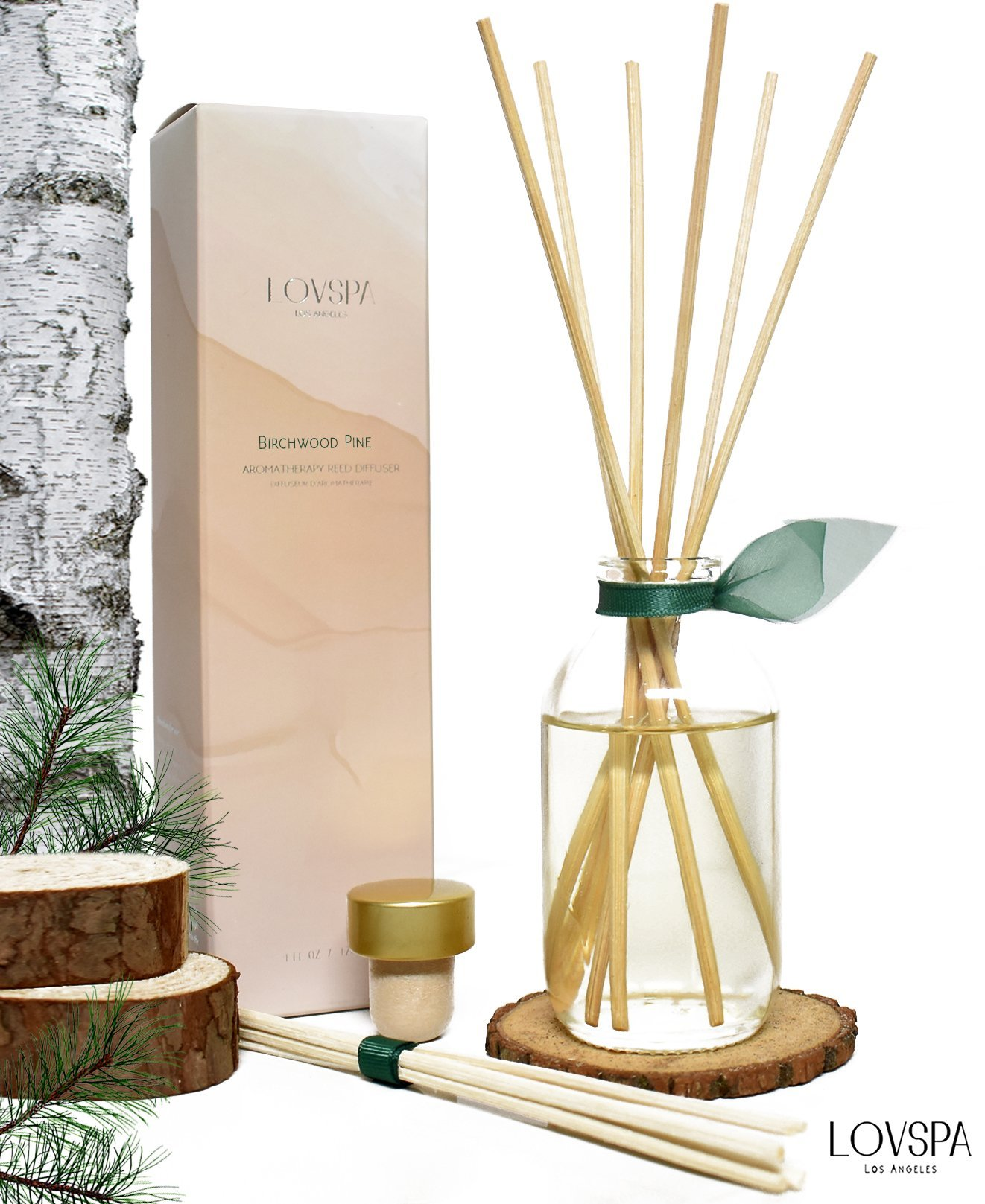 LOVSPA Birchwood Pine Reed Diffuser Set by with Wood Slice Coaster | White Pine, Fir Balsam, Birchwood & Amber Fragrance Notes | Woodsy Rustic Decor w/Scented Sticks | Great Gift Idea for Men!
