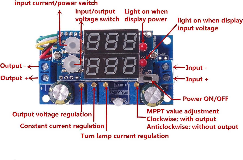 SMAKN/® DC Voltage Regulator Buck Converter 6-36V to 1.25-32V 5A Constant Current Voltage MPPT Solar Controller with LED Voltmeter Ammeter Power Display for Charging Battery Car Power Supply
