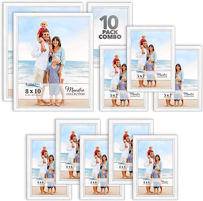 10 PC Classy Contemporary Style Icona Bay Combination Gold Picture Frames Set Maestro Collection for Wall Gallery Five 4x6, Three 5x7, Two 8x10